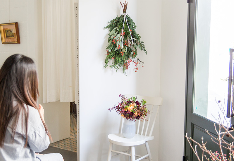 フラワー教室開業 ビジネスの仕組み作りとweb集客で売れるスクールへ 東京 世田谷 KOLME(コルメ)クリスマスリース スワッグレッスン2019