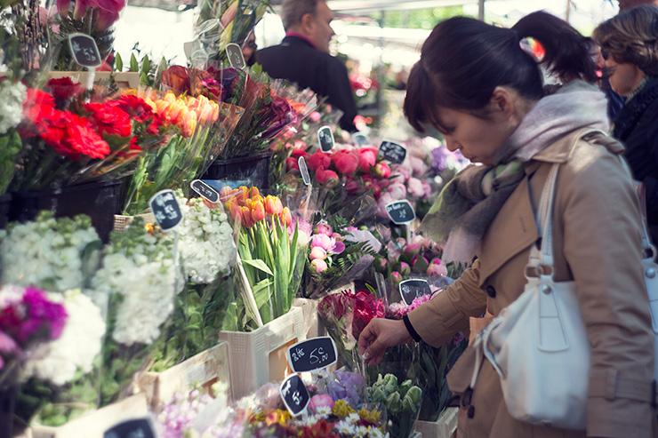 パリスタイルフラワー教室 KOLME(コルメ)パリ研修 パリの市場 花屋さん