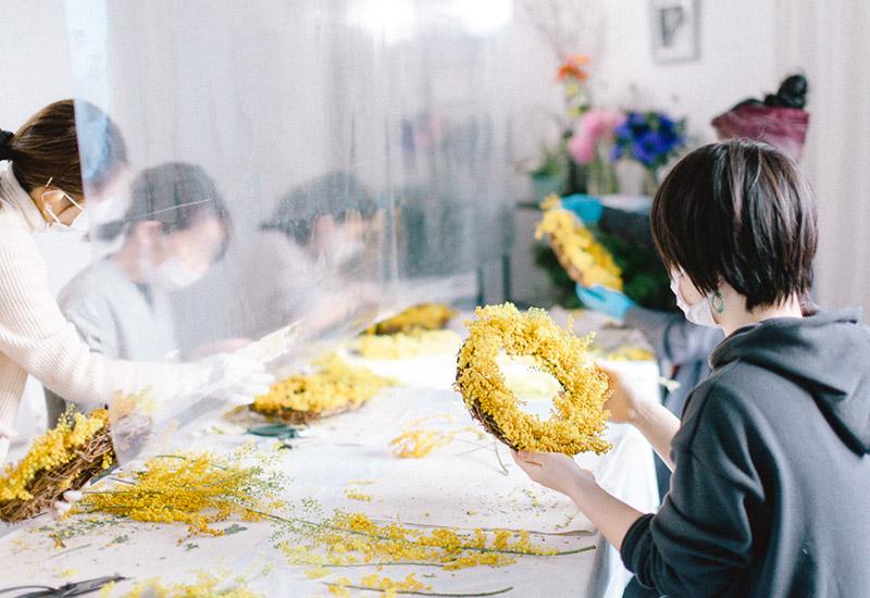 パリスタイルフラワー教室開業 ビジネスの仕組み作りとweb集客で売れるスクールへ 東京 世田谷 羽根木 KOLME(コルメ)ミモザリースワークショップ2021 レポート
