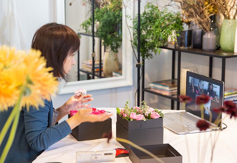 ディプロマ卒業制作「パリの花束を詰め込んだボックスフラワー」オンラインワークショップ レポート