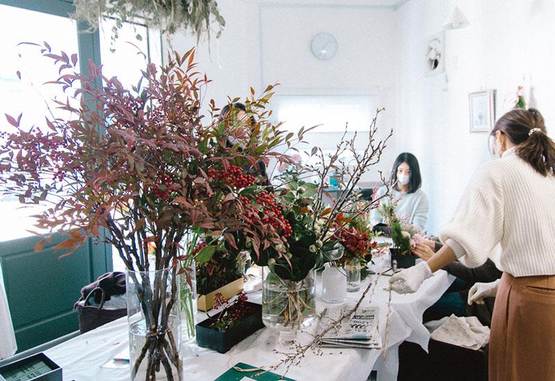 パリスタイルフラワー教室開業 ビジネスの仕組み作りとweb集客で売れるスクールへ 東京 世田谷 羽根木 KOLME(コルメ)新年 お正月花 販売