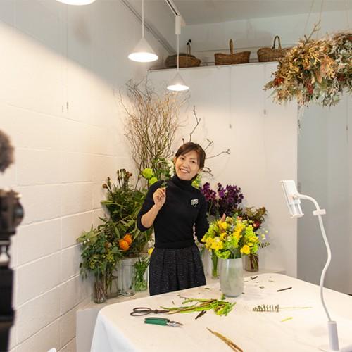 パリスタイルフラワー教室開業 ビジネスの仕組み作りとweb集客で売れるスクールへ 東京 世田谷 KOLME(コルメ)お日さま色のチューリップパリスタイルブーケ